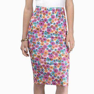 Tobi Floral Midi Pencil Skirt